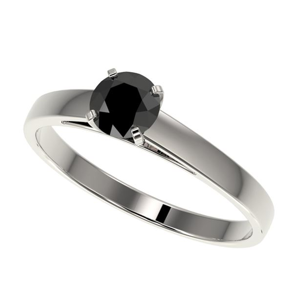 0.50 ctw Fancy Black Diamond Solitaire Engagment Ring 10k White Gold - REF-15F6M