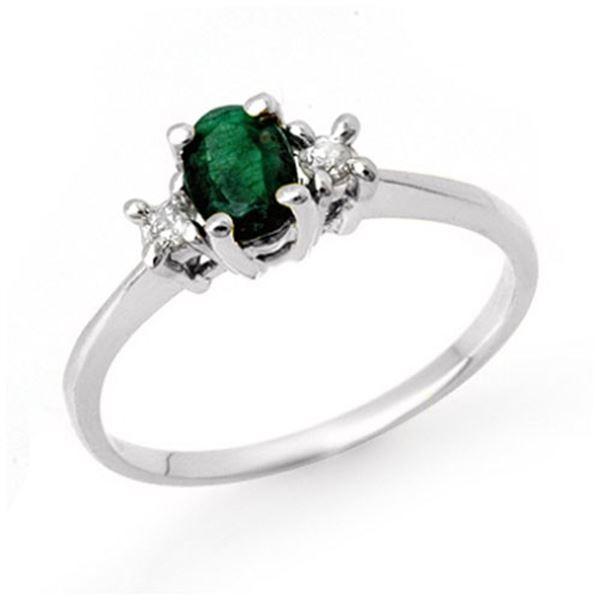 1.04 ctw Emerald & Diamond Ring 18k White Gold - REF-31R4K
