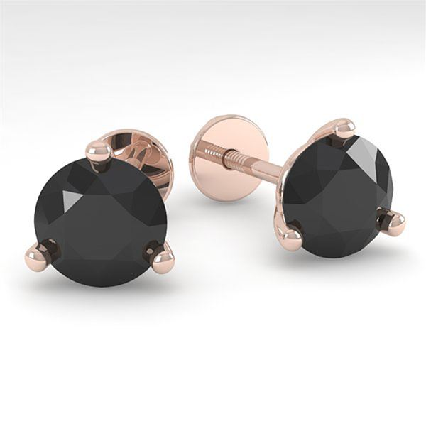 2.0 ctw Black Certified Diamond Stud Earrings Martini 14k Rose Gold - REF-48K2Y