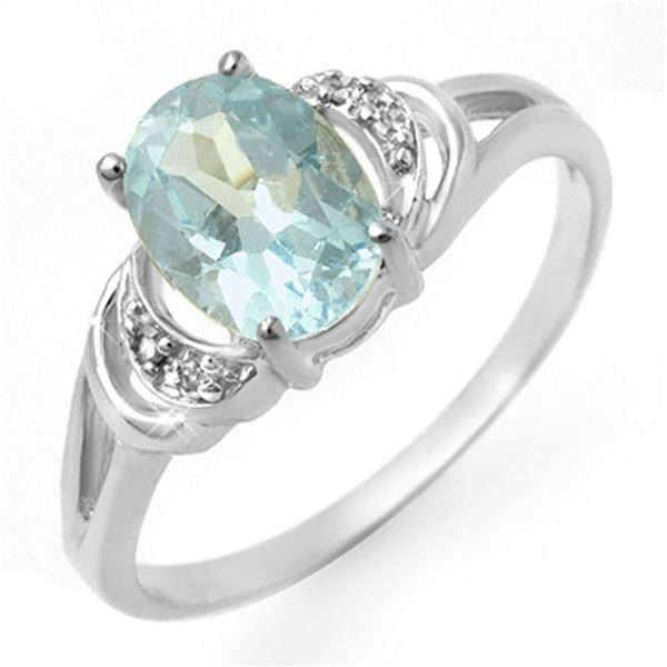 1.06 ctw Blue Topaz & Diamond Ring 10k White Gold - REF-10A3N