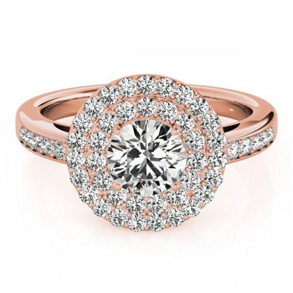 0.85 ctw Certified VS/SI Diamond Halo Ring 18k Rose Gold - REF-78H2R