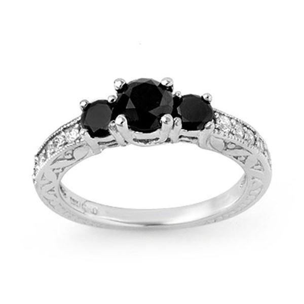 1.40 ctw VS Certified Black & White Diamond Ring 14k White Gold - REF-55R2K