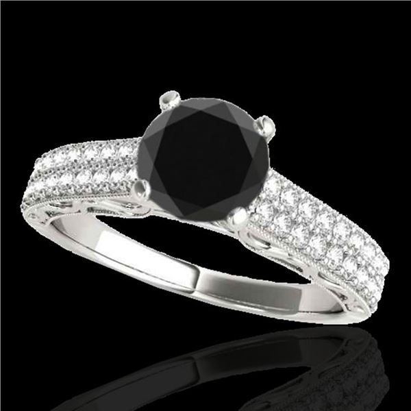 1.41 ctw Certified VS Black Diamond Solitaire Antique Ring 10k White Gold - REF-47X6A