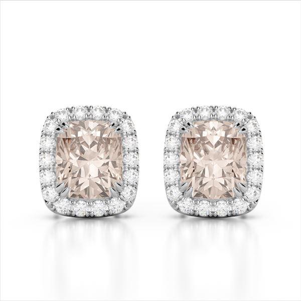 2.50 ctw Morganite & Micro Pave VS/SI Diamond Earrings 10k White Gold - REF-48W6H