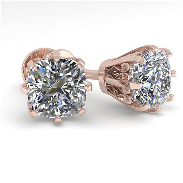 1.0 ctw VS/SI Cushion Cut Diamond Stud Earrings 18k Rose Gold - REF-147M2G