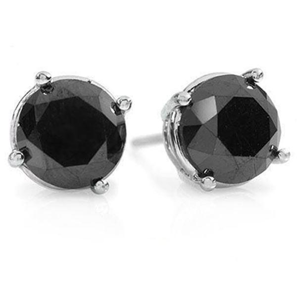 3.0 ctw VS Certified Black Diamond Solitaire Stud Earrings 14k White Gold - REF-47Y9X