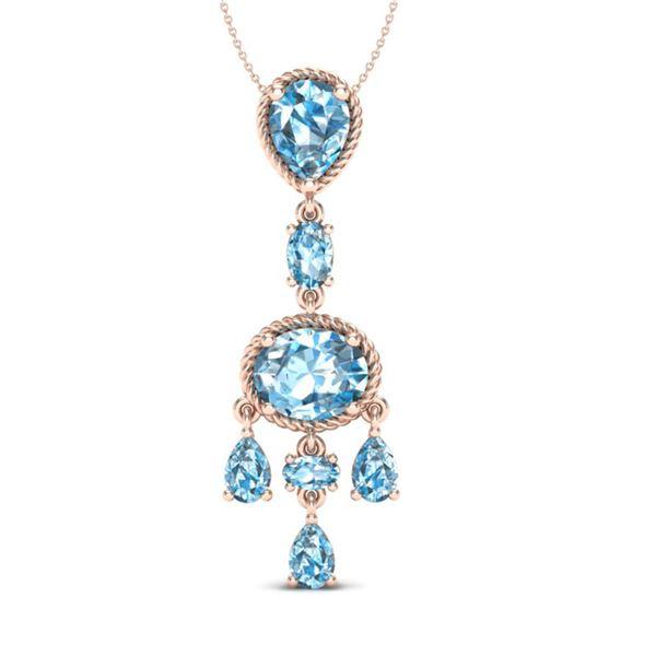 8 ctw Sky Blue Topaz Necklace Designer Vintage 10k Rose Gold - REF-25K8Y