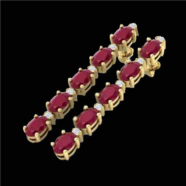7 ctw Ruby & VS/SI Diamond Certified Tennis Earrings 10k Yellow Gold - REF-49W9H