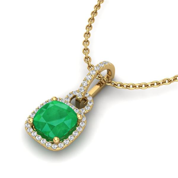 3 ctw Emerald & Micro VS/SI Diamond Certified Necklace 18k Yellow Gold - REF-55H2R