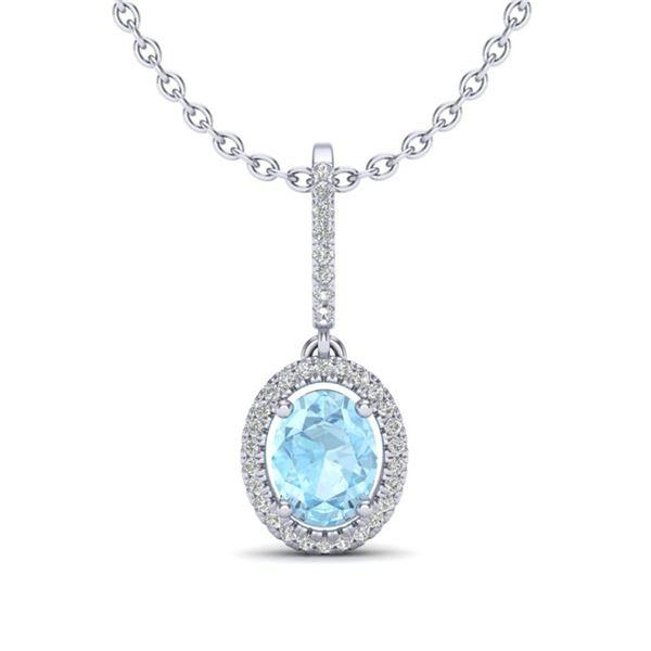 1.75 ctw Aquamarine & Micro VS/SI Diamond Necklace Halo 18k White Gold - REF-50W3H