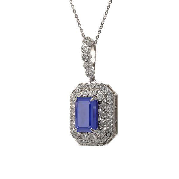 7.18 ctw Sapphire & Diamond Victorian Necklace 14K White Gold - REF-172H8R
