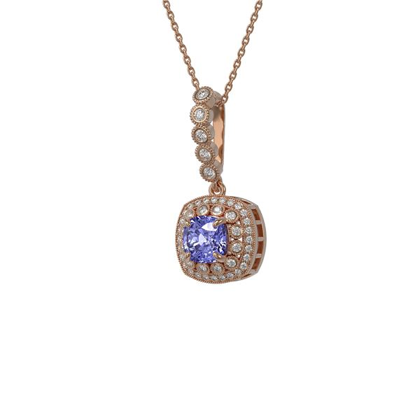 2.6 ctw Tanzanite & Diamond Victorian Necklace 14K Rose Gold - REF-100M2G