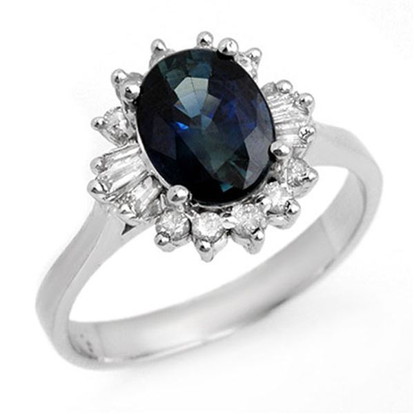 2.29 ctw Blue Sapphire & Diamond Ring 14k White Gold - REF-37Y6X