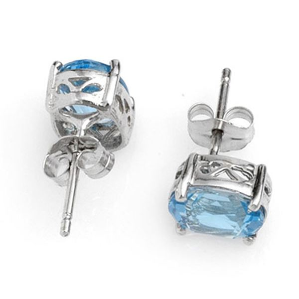 2.0 ctw Blue Topaz Earrings 14k White Gold - REF-8K8Y
