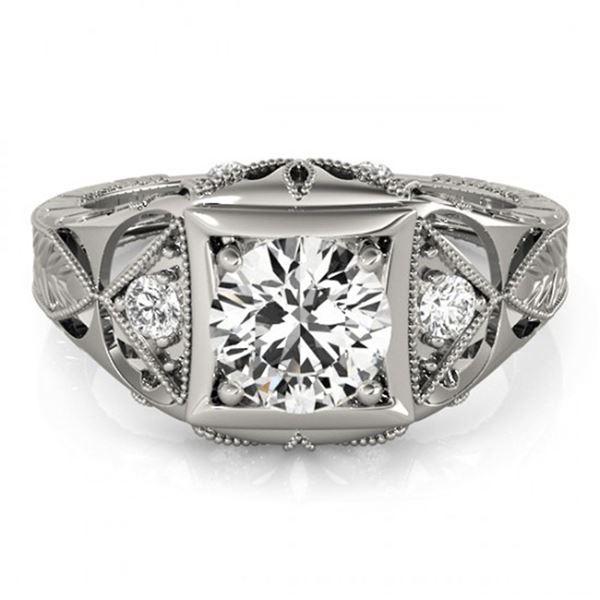 0.6 ctw Certified VS/SI Diamond Antique Ring 18k White Gold - REF-99N2F