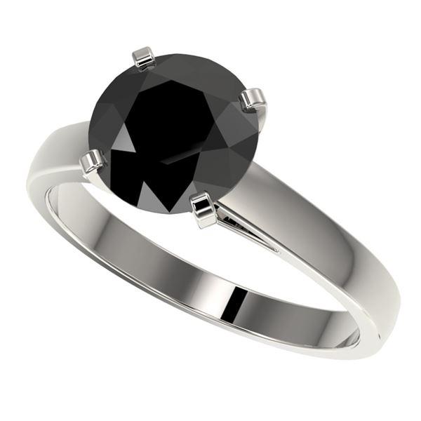 2.59 ctw Fancy Black Diamond Solitaire Engagment Ring 10k White Gold - REF-45G4W