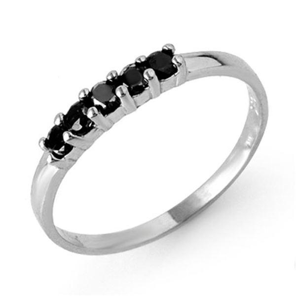 0.25 ctw VS Certified Black Diamond Band 10k White Gold - REF-8H6R