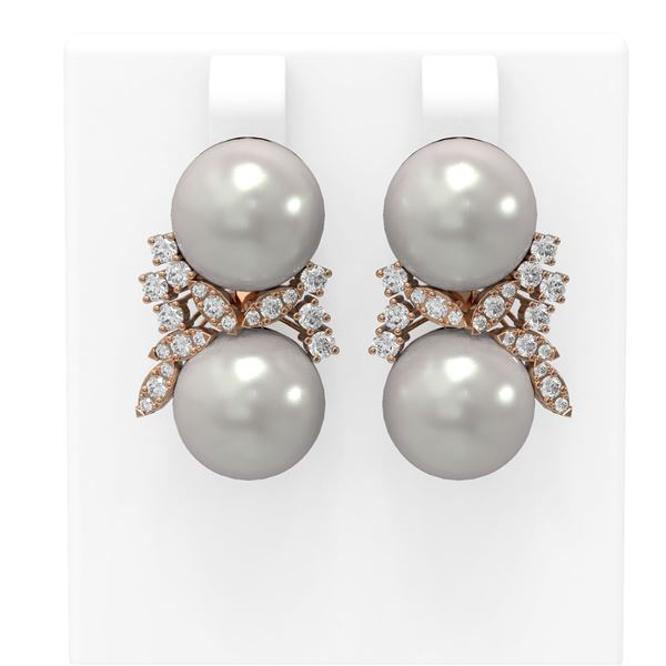 0.96 ctw Diamond & Pearl Earrings 18K Rose Gold - REF-124N5F