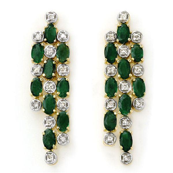 4.03 ctw Emerald & Diamond Earrings 14k Yellow Gold - REF-109X3A