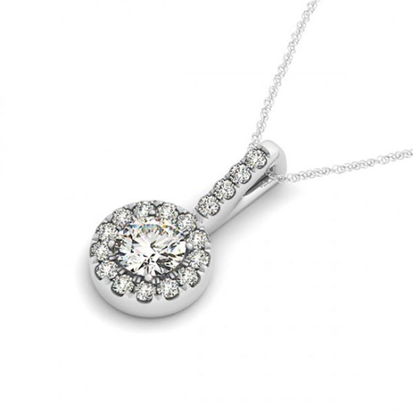 0.3 ctw Certified SI Diamond Halo Necklace 14k White Gold - REF-24F4M