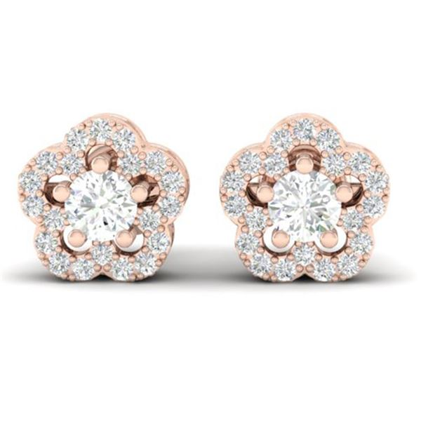 0.50 ctw Micro Pave VS/SI Diamond Certified Earrings 10k Rose Gold - REF-34X3A