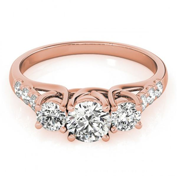 0.75 ctw VS/SI Diamond 3 Stone Ring 18k Rose Gold - REF-72R2K