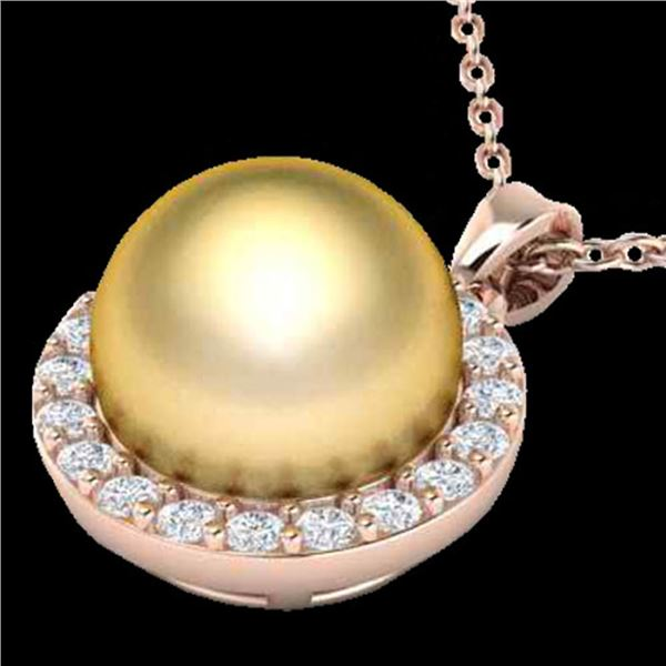 0.25 ctw Micro Pave Diamond & Golden Pearl Necklace 14k Rose Gold - REF-25X4A