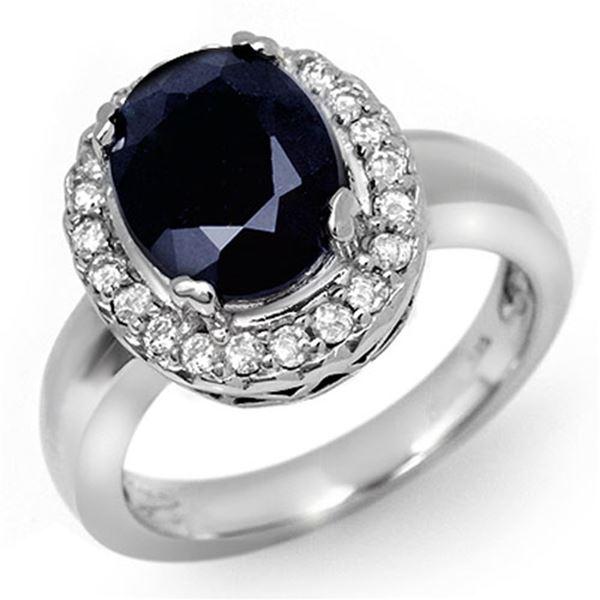 4.65 ctw Blue Sapphire & Diamond Ring 10k White Gold - REF-41G2W