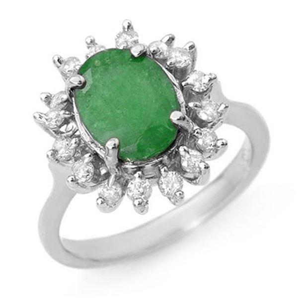 3.10 ctw Emerald & Diamond Ring 18k White Gold - REF-83X6A