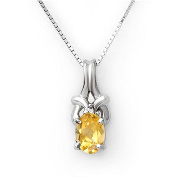 0.67 ctw Citrine & Diamond Necklace 10k White Gold - REF-11G3W