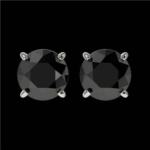 1.50 ctw Fancy Black Diamond Solitaire Stud Earrings 10k White Gold - REF-31Y3X