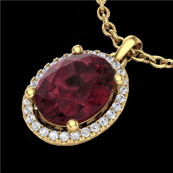 2.50 ctw Garnet & Micro Pave VS/SI Diamond Necklace 18k Yellow Gold - REF-33Y8X