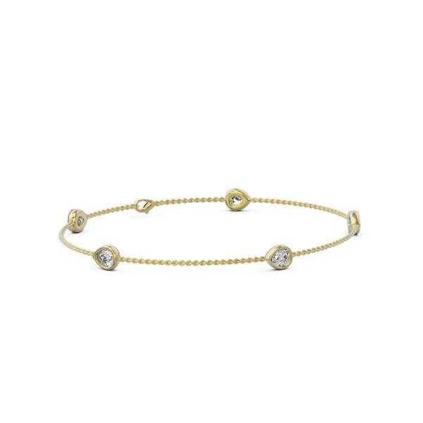 1.65 ctw Pear Cut Diamond Station Bracelet 18K Yellow Gold - REF-278F9M