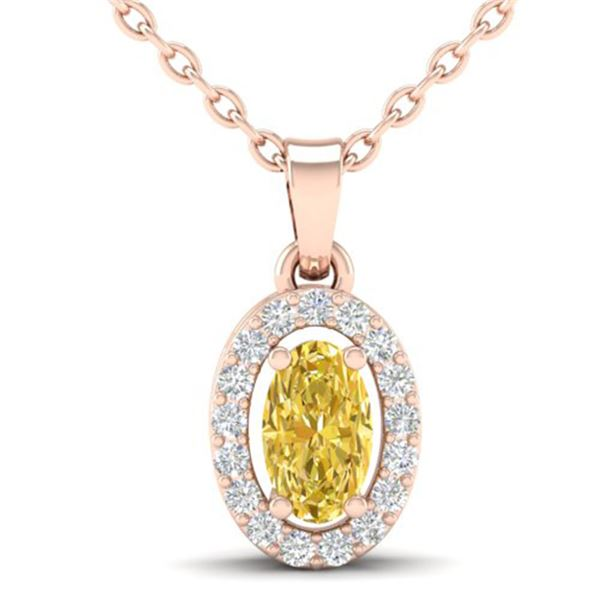 0.65 ctw Citrine & Micro Pave VS/SI Diamond Necklace 14k Rose Gold - REF-23H2R