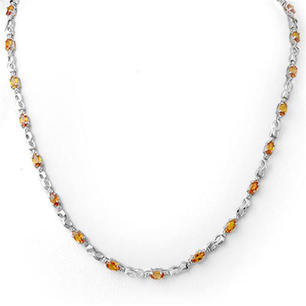 9.02 ctw Orange Sapphire & Diamond Necklace 18k White Gold - REF-163N6F