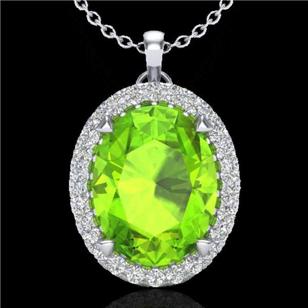 2.75 ctw Peridot & Micro VS/SI Diamond Halo Necklace 18k White Gold - REF-39H9R