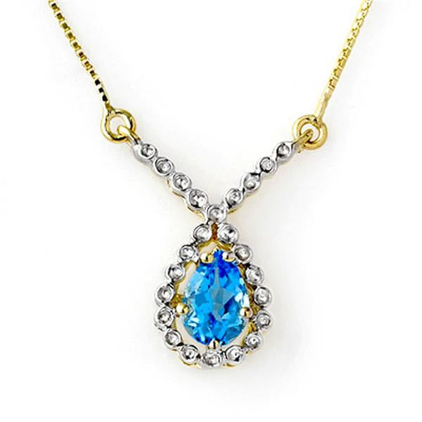 1.05 ctw Blue Topaz Necklace 10k Yellow Gold - REF-13H5R