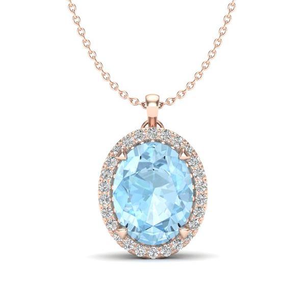 2.75 ctw Aquamarine & Micro VS/SI Diamond Halo Necklace 14k Rose Gold - REF-42A3N