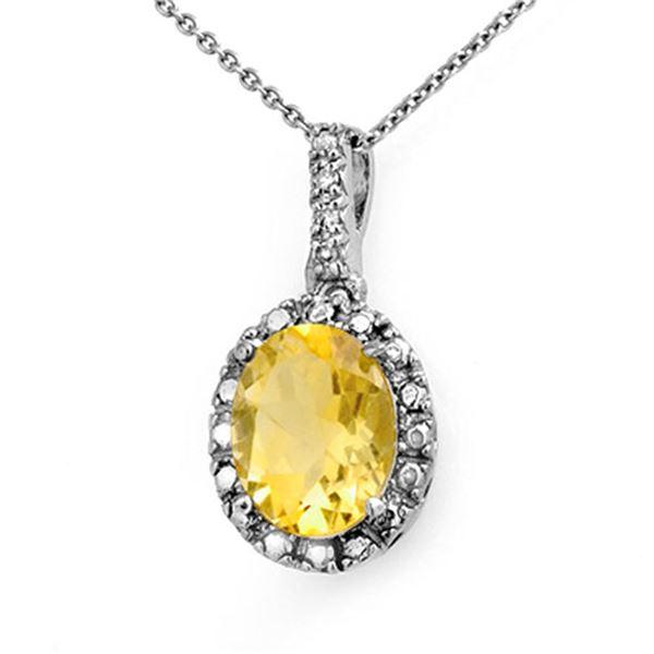 2.05 ctw Citrine & Diamond Pendant 14k White Gold - REF-12F8M