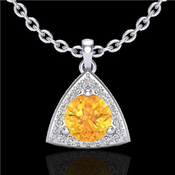 1.50 ctw Citrine & Micro Pave VS/SI Diamond Necklace 18k White Gold - REF-25H9R