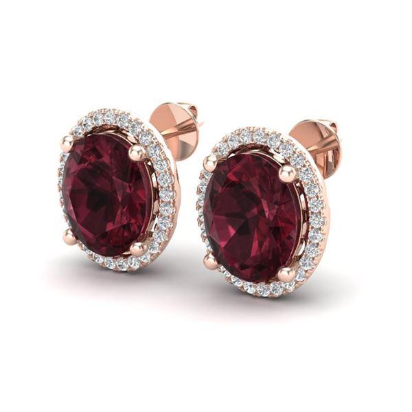 5 ctw Garnet & Micro Pave VS/SI Diamond Earrings 14k Rose Gold - REF-52A3N