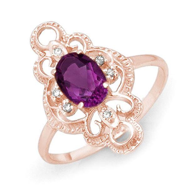 0.80 ctw Amethyst & Diamond Ring 14k Rose Gold - REF-17Y3X