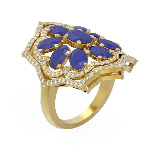 7.38 ctw Sapphire & Diamond Ring 18K Yellow Gold - REF-178G2W