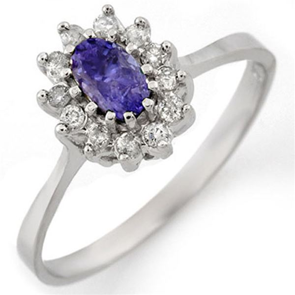 0.60 ctw Tanzanite & Diamond Ring 14k White Gold - REF-20X9A