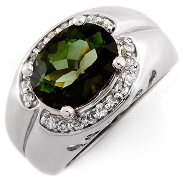 3.58 ctw Green Tourmaline & Diamond Ring 10k White Gold - REF-86R4K
