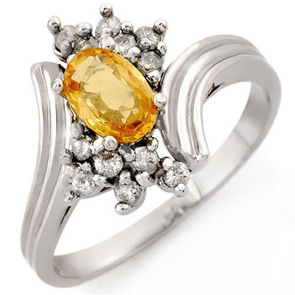 1.0 ctw Yellow Sapphire & Diamond Ring 10k White Gold - REF-23N9F