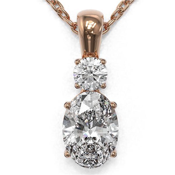 0.9 ctw Oval Cut Diamond Designer Necklace 18K Rose Gold - REF-139W2H