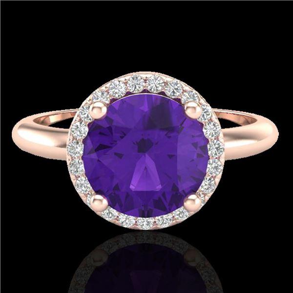2 ctw Amethyst & Micro Pave VS/SI Diamond Ring 14k Rose Gold - REF-27X3A