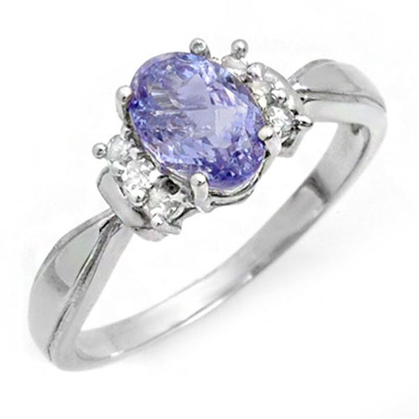 1.06 ctw Tanzanite & Diamond Ring 10k White Gold - REF-17X2A