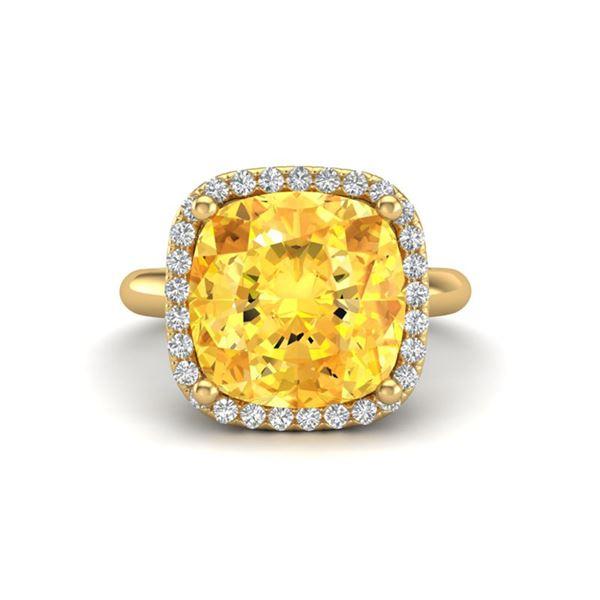 6 ctw Citrine & Micro Pave Halo VS/SI Diamond Ring 18k Yellow Gold - REF-45G3W